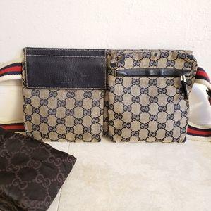 Authentic gucci mongrammed web Belt Bag